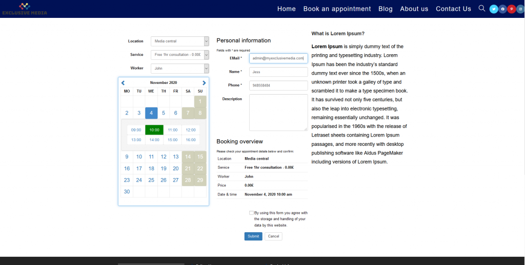 how to make a website for booking appointments